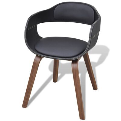 vidaXL Cadeiras jantar 2 pcs madeira curvada e couro artificial preto