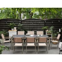Mesa de jardim 220 cm - Tampo de basalto preto flamejado - Aço inox -