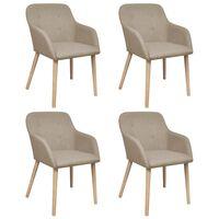 vidaXL Cadeiras jantar 4 pcs tecido bege e madeira de carvalho maciça