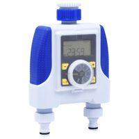 vidaXL Temporizador de água saída dupla eletrónico c/ atraso de chuva