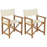 vidaXL Cadeiras de realizador dobráveis 2 pcs madeira de teca maciça