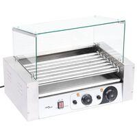 vidaXL Máquina de cachorros-quentes 7 rolos c/ tampa de vidro 1400 W