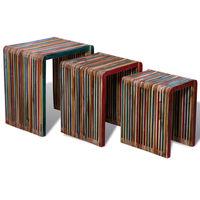 vidaXL Conjunto de mesas de encastrar 3 pcs teca reciclada colorida