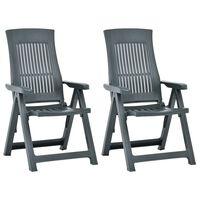 vidaXL Cadeiras de jardim reclináveis 2 pcs plástico verde