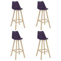 vidaXL Bar Stools 4 pcs Dark Purple PP and Solid Beech Wood (2x289172)