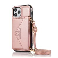 Capa Carteira Para Iphone 12/12 Pro Couro Pu Rosa Ouro