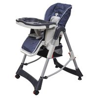 vidaXL Cadeira de bebé alta Deluxe azul escuro altura ajustável