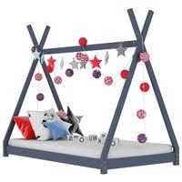 vidaXL Estrutura de cama para crianças 90x200 cm pinho maciço cinzento