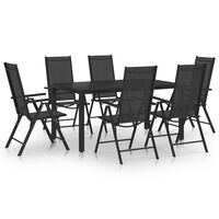 vidaXL 7 pcs conjunto de jantar para jardim alumínio preto