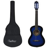 """vidaXL 8 pcs conjunto guitarra clássica iniciantes 1/2 34"""" azul"""