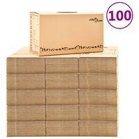 vidaXL Caixas para mudanças XXL 100 pcs 60x33x34 cm