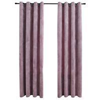 vidaXL Cortinas blackout c/ argolas 2 pcs 140x225cm veludo rosa antigo