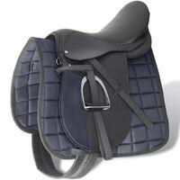 """Sela para equitação 17.5"""", couro natural 18 cm 5-in-1 / Preta"""
