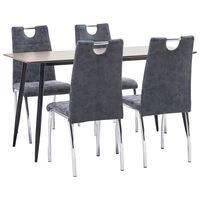 vidaXL 5 pcs conjunto de jantar couro artificial preto