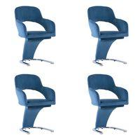 vidaXL Cadeiras de jantar 4 pcs veludo azul