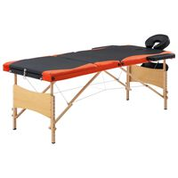 vidaXL Mesa de massagens dobrável 3 zonas madeira preto e laranja