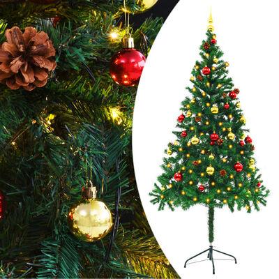 vidaXL Árvore Natal artificial decorada c/ enfeites e LEDs 180cm verde