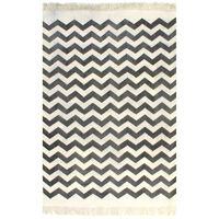 vidaXL Tapete Kilim em algodão 120x180 cm com padrão preto/branco