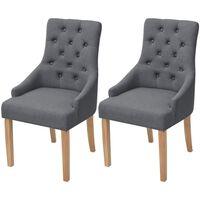 vidaXL Cadeiras de jantar 2 pcs tecido cinzento-escuro