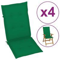 vidaXL Almofadões para cadeiras de jardim 4 pcs 120x50x4 cm verde