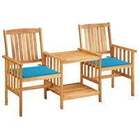 vidaXL Cadeiras de jardim c/ mesa de centro e almofadões acácia maciça