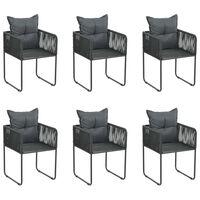 vidaXL Cadeiras de exterior 6 pcs c/ almofadões vime PE preto