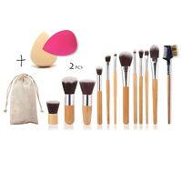 Conjunto De 12 Pincéis De Maquiagem E 2 Esponjas