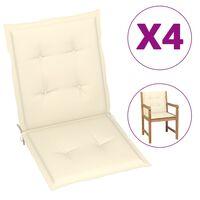 vidaXL Almofadões para cadeiras de jardim 4 pcs 100x50x4 cm creme