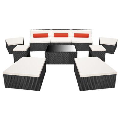 vidaXL 10 pcs conjunto lounge de jardim c/ almofadões vime PE preto