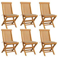 vidaXL Cadeiras de jardim c/ almofadões beges 6 pcs teca maciça