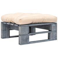 vidaXL Otomano de paletes com almofadão cor areia madeira cinzento