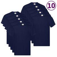 Fruit of the Loom T-shirts originais 10 pcs algodão 4XL azul-marinho