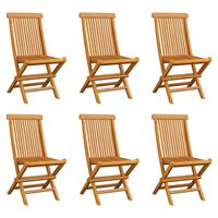 vidaXL Cadeiras de jardim dobráveis 6 pcs madeira de teca maciça