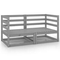 vidaXL Sofá de 2 lugares para jardim pinho maciço cinzento