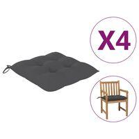 vidaXL Almofadões de cadeira 4 pcs 50x50x7 cm tecido antracite
