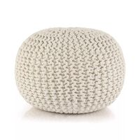 vidaXL Pufe tricotado à mão algodão 50x35 cm branco