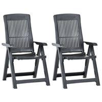 vidaXL Cadeiras de jardim reclináveis 2 pcs plástico antracite