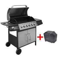 vidaXL Grelhador/barbecue a gás 6+1 queimadores preto/prateado