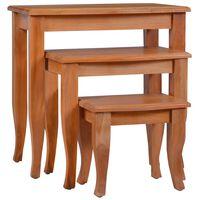 vidaXL Mesas de apoio 3 pcs madeira de mogno maciça