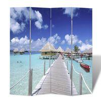 vidaXL Biombo dobrável com estampa de praia 160x170 cm