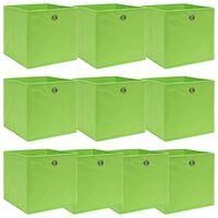 vidaXL Caixas de arrumação 10 pcs 32x32x32 cm tecido verde
