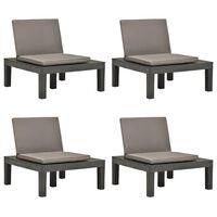 vidaXL Cadeiras de jardim com almofadões 4 pcs plástico antracite