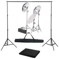 vidaXL Kit de estúdio fotográfico com conjunto de iluminação e fundo