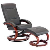 vidaXL Cadeira reclinável c/ apoio de pés couro artificial cinzento