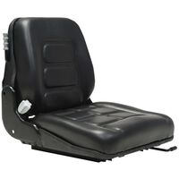vidaXL Assento trator/empilhadeira c/ suspensão e encosto ajust. preto
