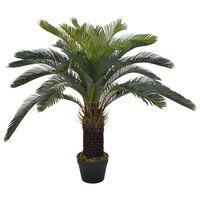 vidaXL Palmeira cica artificial com vaso 90 cm verde