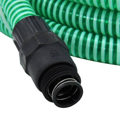 vidaXL Mangueira de sucção com conectores de PVC 10 m 22 mm verde