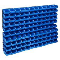 vidaXL 128 pcs Kit caixas arrumação com painéis de parede azul e preto
