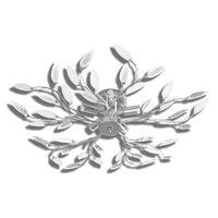 Lâmpada teto com folhas de acrílico e cristal, branca 5 x E14