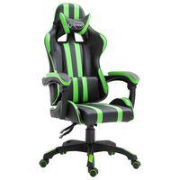 vidaXL Cadeira de gaming couro artificial verde
